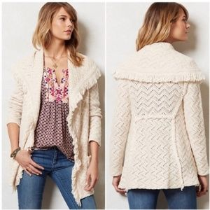 Anthro Angel of the North Chevron Cable Cardigan